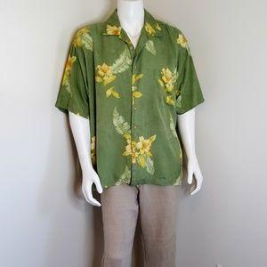 Tommy Bahama green & yellow Floral silk shirt XXL